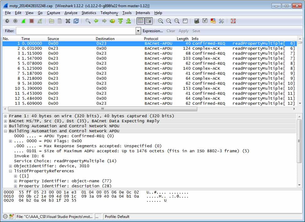 MS/TP Packet Capture using Wireshark