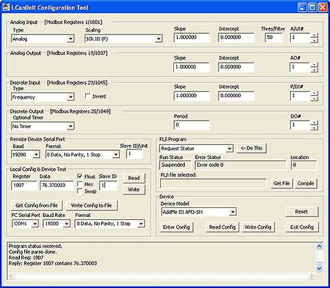 Screen shot from AMJR-SM Programmable I/O for Modbus RTU configuration tool